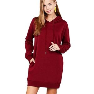 Women Kangaroo Pocket Hoodie Dress Long Hoodie Women Plain Hoodie Dress Women