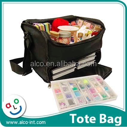 Custom 600D polyester cosmetic and craft tote caddy with shoulder strap
