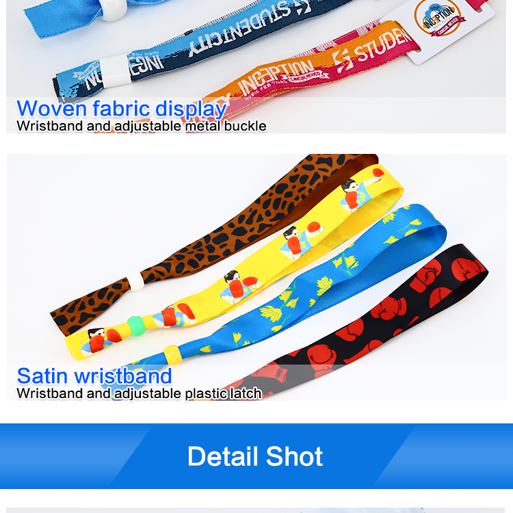 Disposable 13.56Mhz customized design one  time used RFID woven fabric wristband for festival events Ticketing