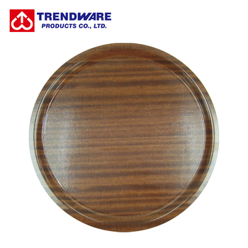 Food Serving Anti Slip Round Wood Tray