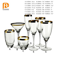 Handmade Gold Sliver Rim Clear Goblet Wine /Champange /Water Glass Cup Set