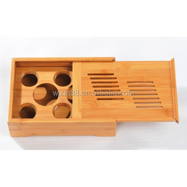 portable small bamboo tea tray set, cheap Chinese Gong Fu tea serving tray wholesale