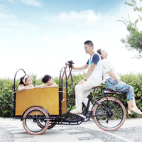 CE family bakfiets pedal assisted three wheel cargo trike car with cabin for kids