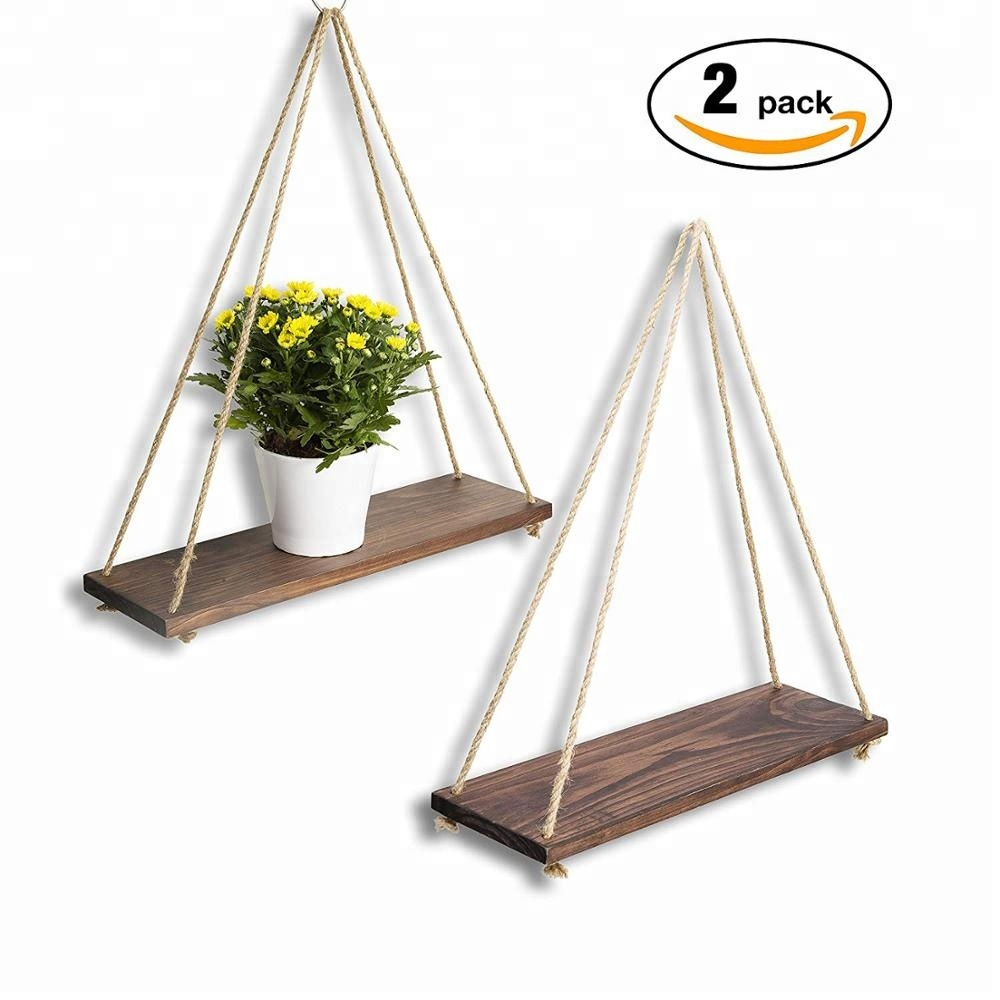 Distressed Wood Hanging Swing Rope Floating <strong>Shelves</strong> Brown