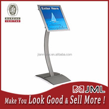 JML 11 x 17 Menu Stand for Floor, Rotating, Snap Open, Curved Post - Silver