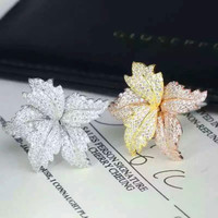 14K Tri Tone Sterling Silver Leaf Big Size Adjustable Ring Wholesale Rings Jewelry
