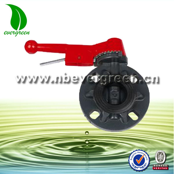 handle lever operated plastic manual butterfly valve