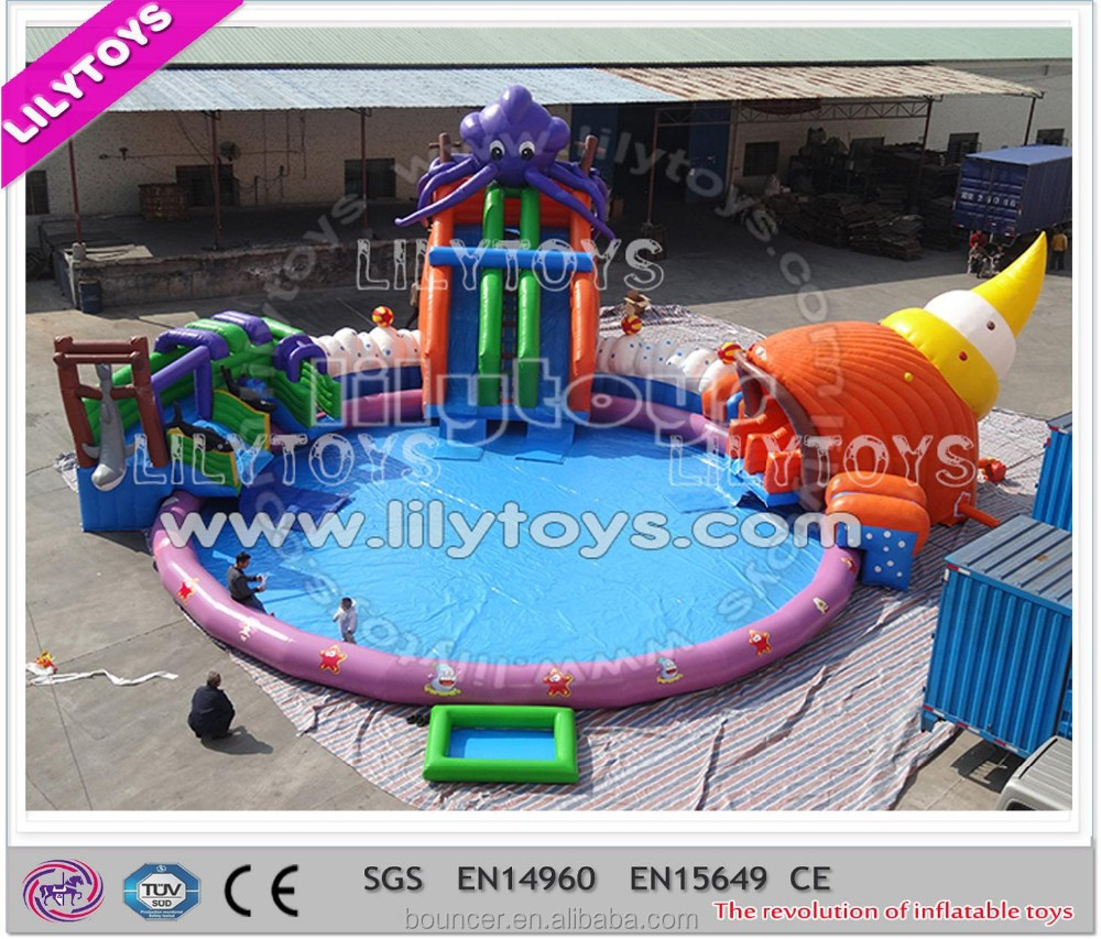 New customized octopus design inflatable pool slide with swimming pool from China