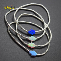 Wholesale Elastic String Synthetic Opal Bracelet with 925 Sterling Silver Beads