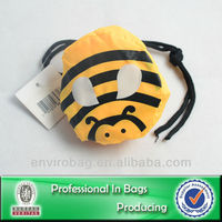 Fold Up Shopping Bag With Clip On Pouch Bumble Bee Theme Bag