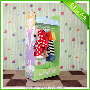 Hot salling wooden children furniture Modern cartoon clothes rack bedroom clothes hanger stand