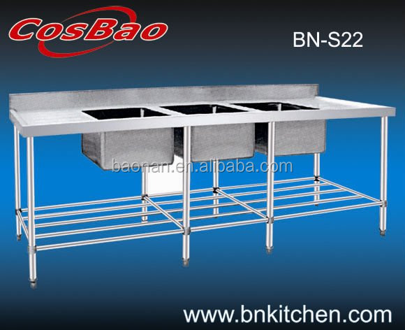 Hot sale Stainless Steel Triple Sink Bench with Pot Shel/Work Sink BN-S22