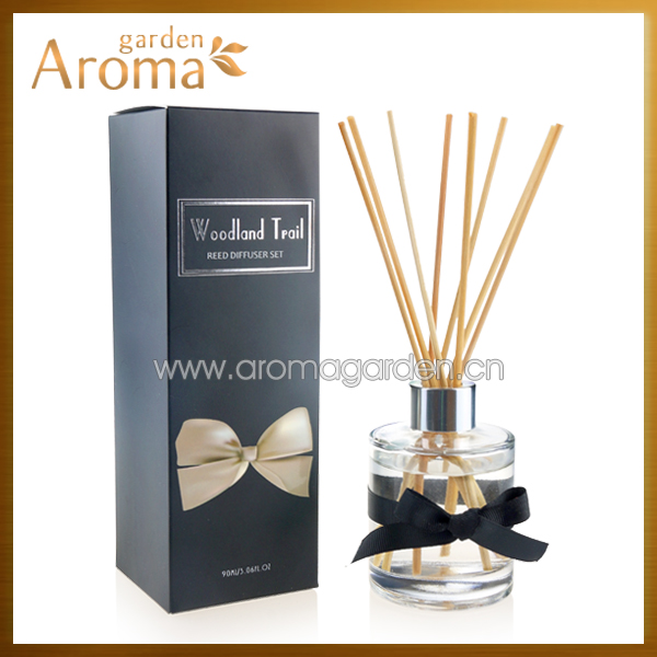 Decorative glass bottle reed diffuser with UV spot box