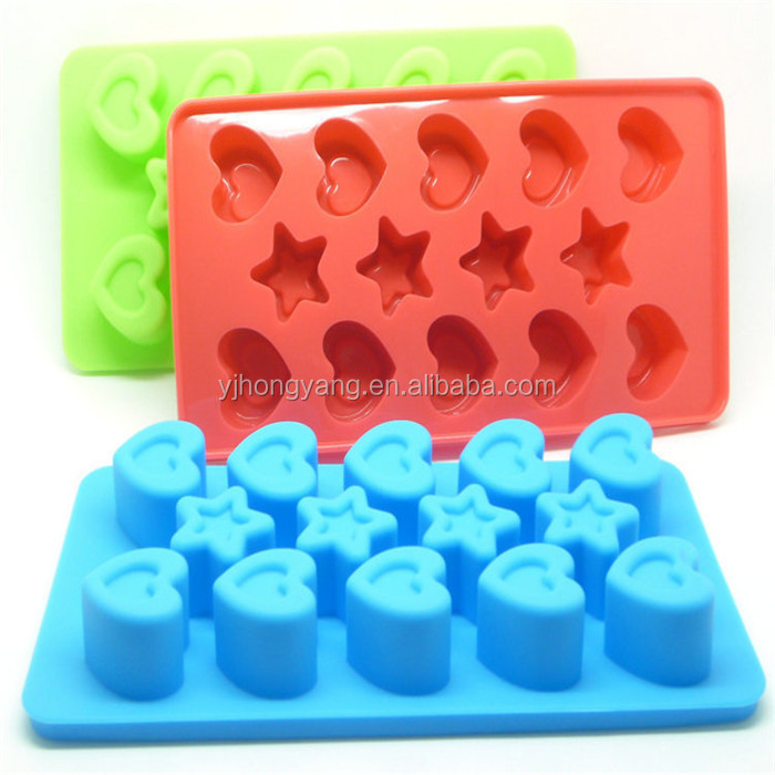 Star and Heart Shape Silicone Ice Tray and Icing Cube Mold