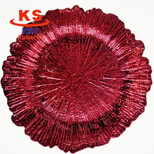 13inch hot sale wedding party table centering decorative red plastic charger <strong>plate</strong>