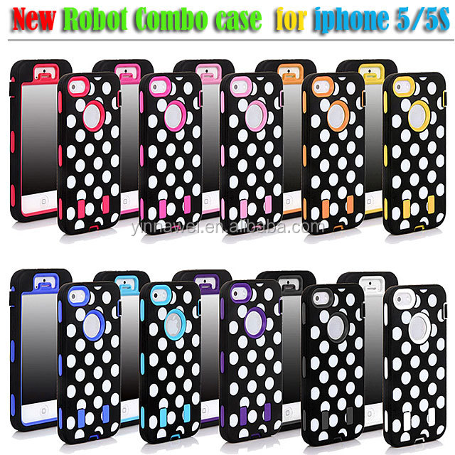 Hybrid Robot case dot pattern case for iphone 5S PC+ Silicon