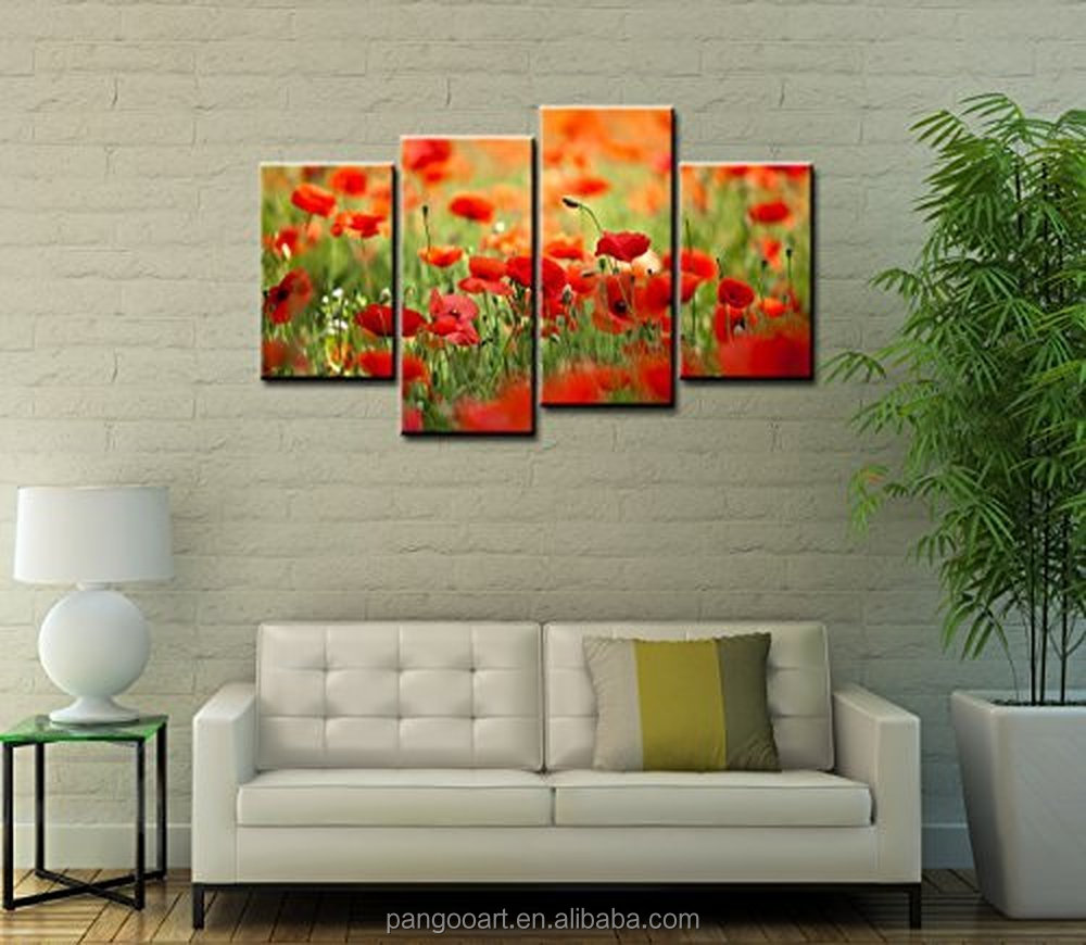 Forever With Me Flower Paintings Wall Art Corn Poppy Field and Cute Bud 4 Pieces Picture Print on Canvas for Home Decoration