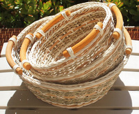 3 Round Wicker/Rattan Bread or Storage Baskets in Gray