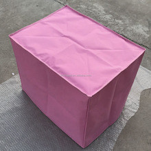 metal dog crate with pink cover