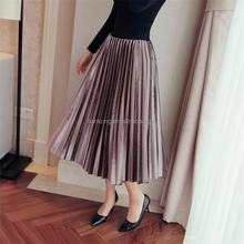 hot sale wholesale fashion long pleated lady skirts