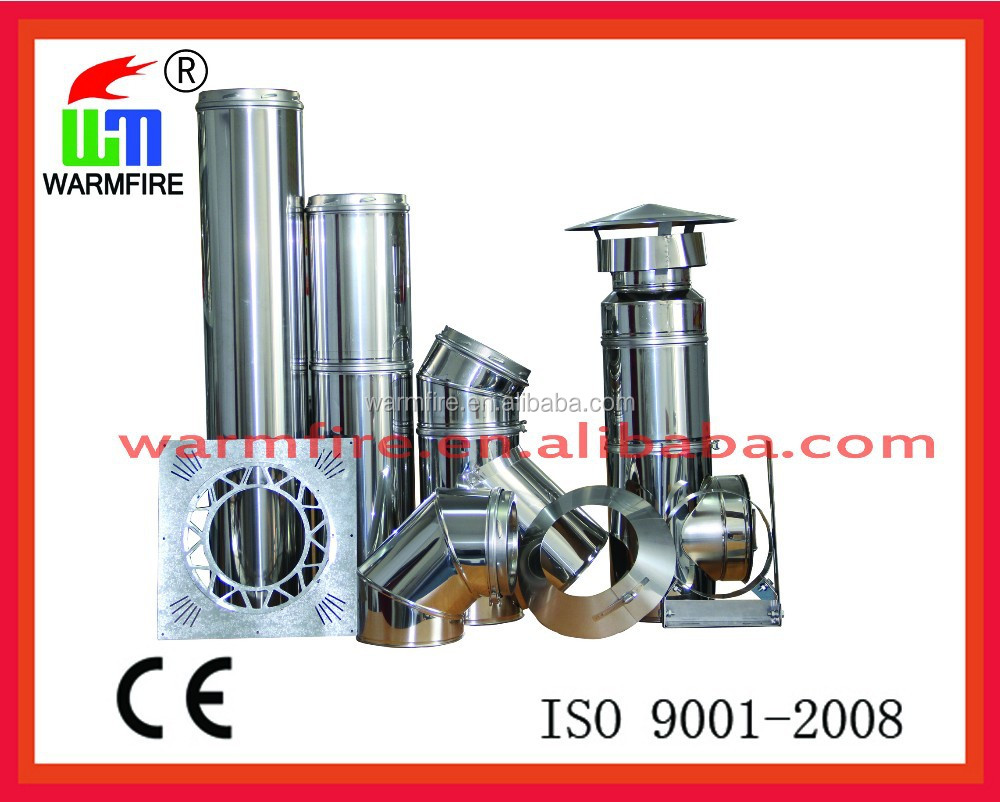 CE stainess steel double wall insulating flue pipe