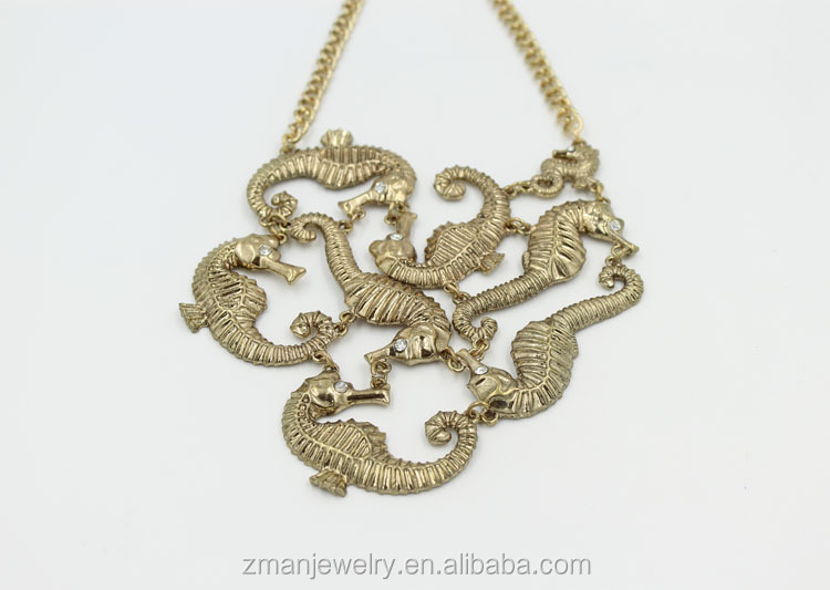 2017 New Arrival Fashion Multi Gold Sea Life Pendant Statement Necklace