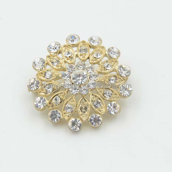 gold rhinestone channel brooch for wedding cards