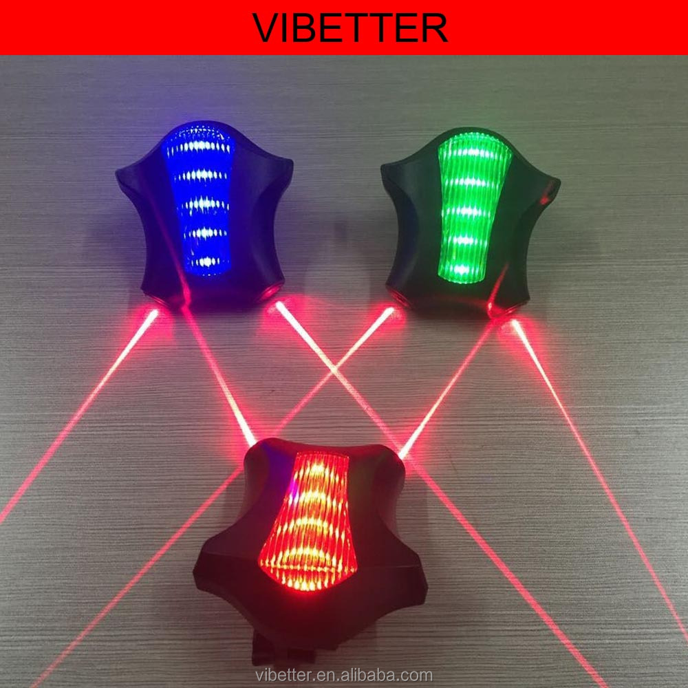 Bicycle Cycling Laser Tail Light Water Resistant 2 Laser & 5 LED 7 Modes Mountain Bike Safety warning Flashing Lamp Alarm Light