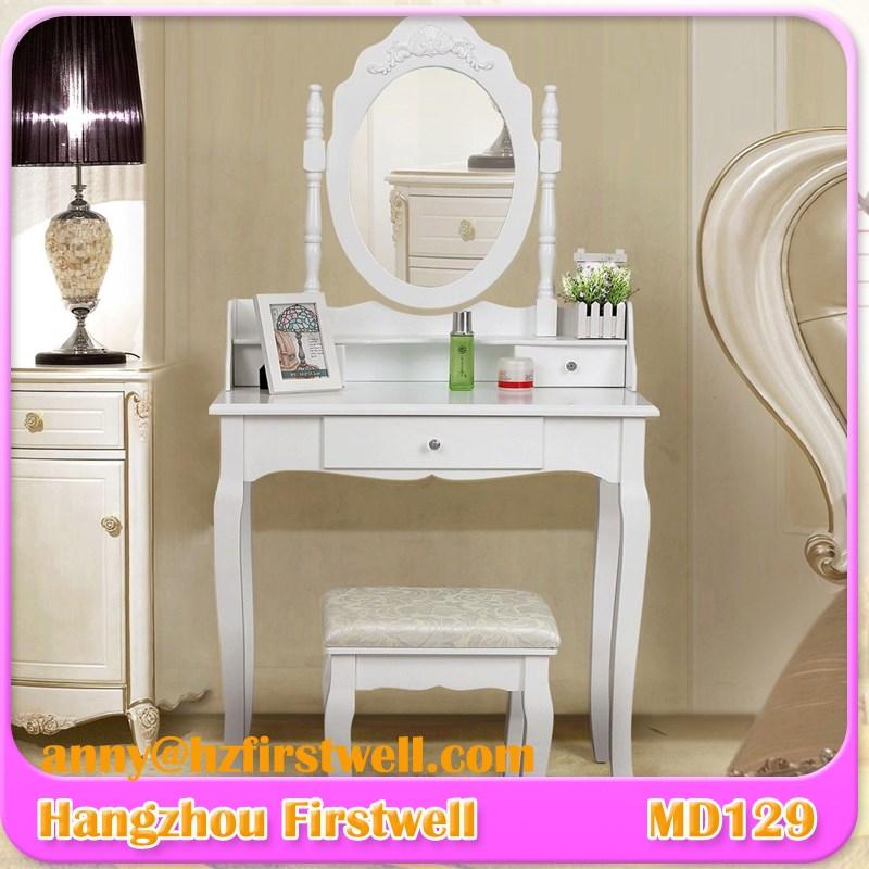 blanc en bois vanit maquillage coiffeuse tabouret ensemble bijoux bureau w tiroir et miroir. Black Bedroom Furniture Sets. Home Design Ideas