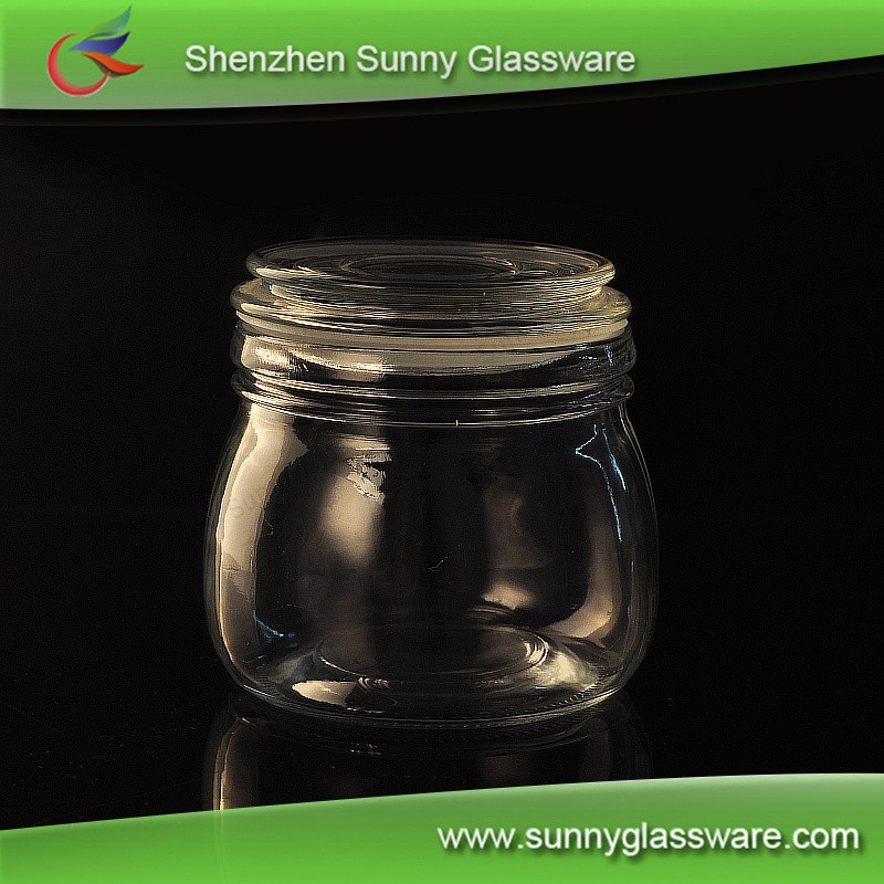 Glass storage jar, airtight food jar with metal lid