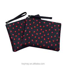 Lovely Heart Shape Makeup Cosmetic Bag Travel Satin black Cosmetic Bag Traveling Cosmetic Pouch