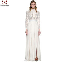 Europe America Self-Portrait Same Design Lace Splice Long Sleeve Maxi Crochet Traditional Dress