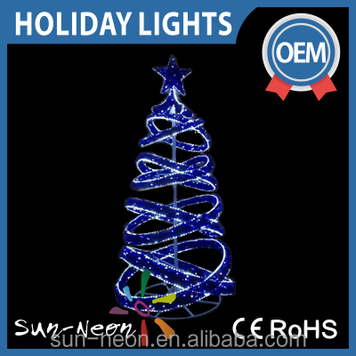 Outdoor Christmas Decoration Blue Led Light /giant Chrismtas Tree Spiral with Star on Top
