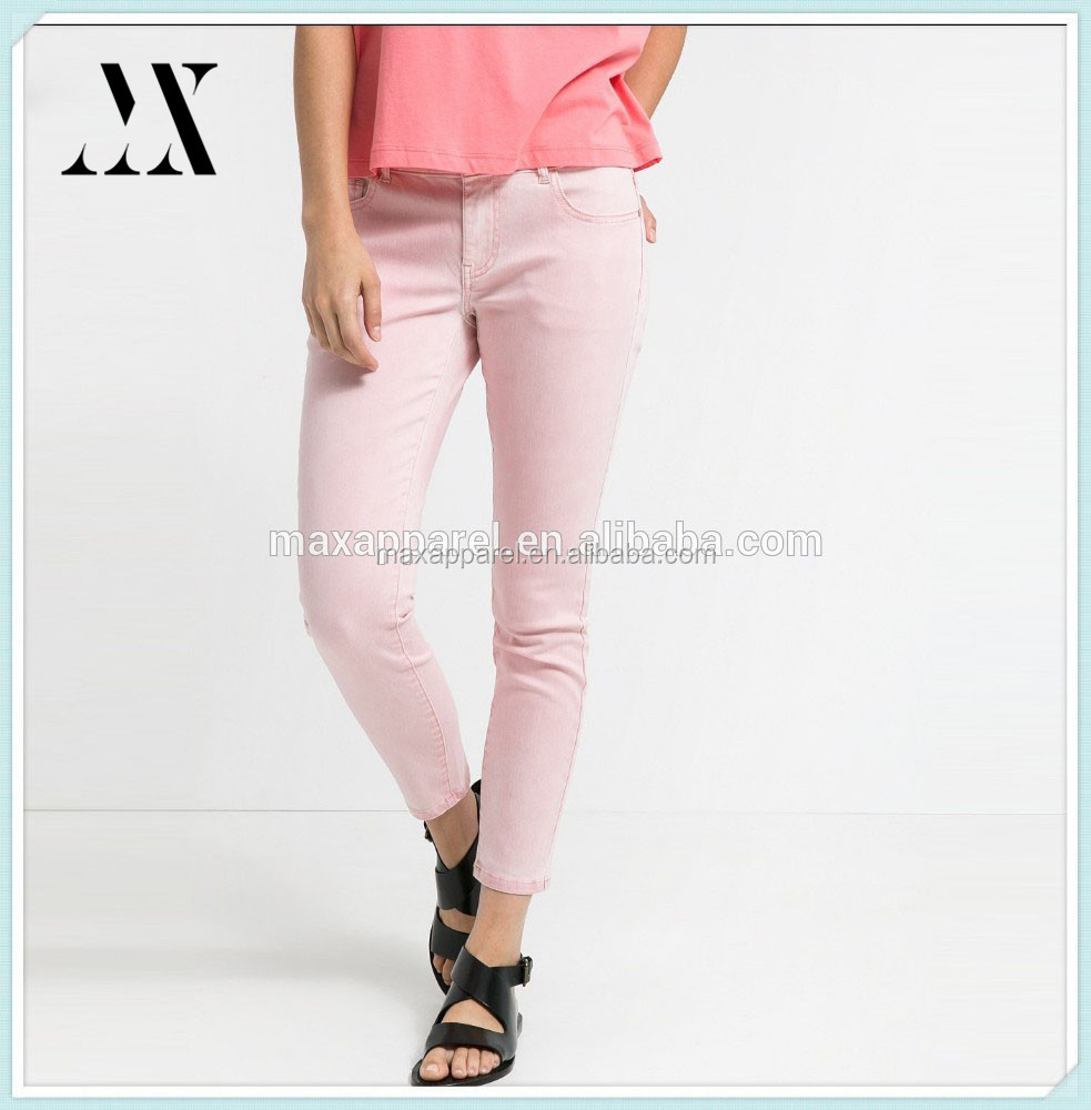 2015 Wholesale Factory Women Pink Jeans Young Girls Tight Jeans Colorful Skinny Jeans