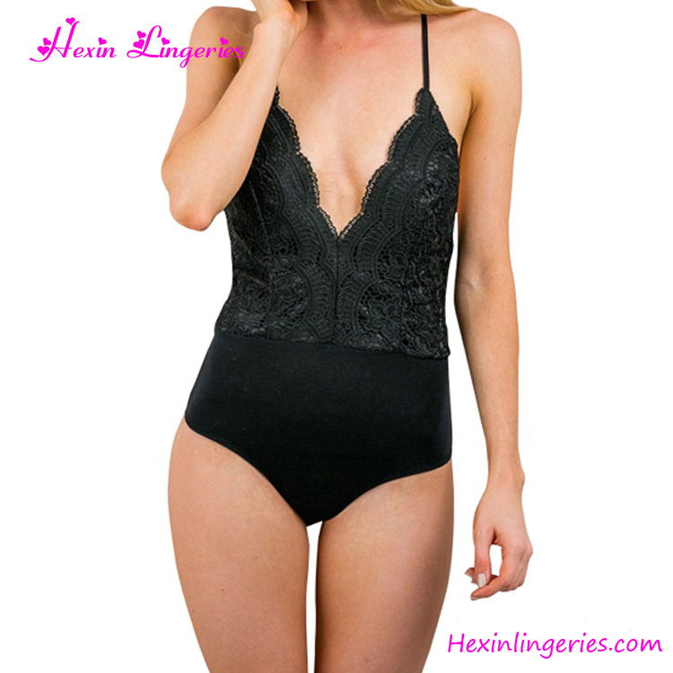 Sexy Cross Back Black Lace High Waisted One Piece Ladies Mature Swimsuit