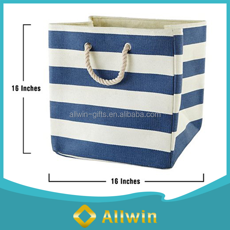 Wholesale eco-friendly cloth, toy canvas storage bin with rope handle