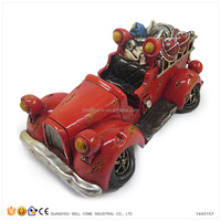 Resin Money Boxes for Adults Old Model Fire Car