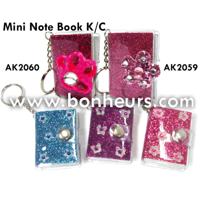 New Novelty Toy Colorful Glitter Cover Mini Note Book Keychain