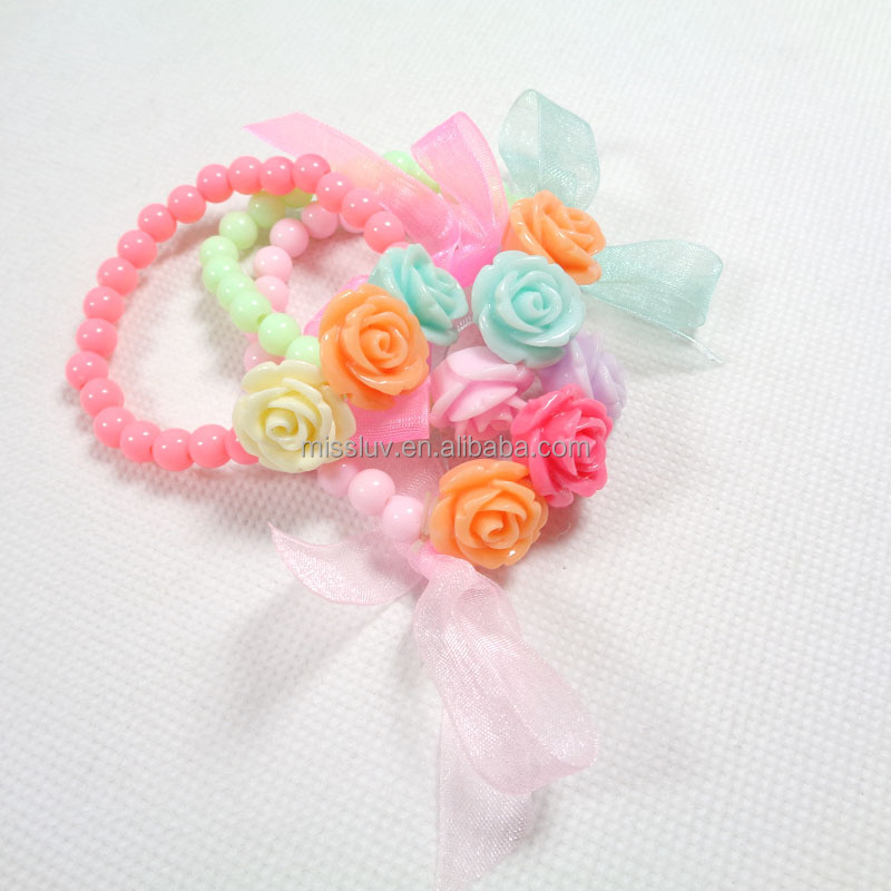Custom pink candy beaded bracelets with flower charm silk ribbon for kids gifts