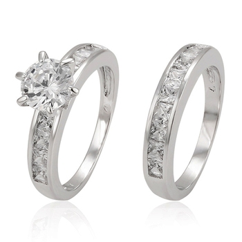 12870 simple diamond white gold rings design for couples, images wedding set engagement ring, jewellery in silver color