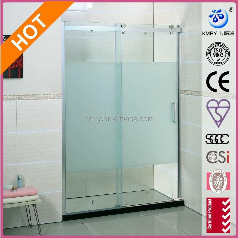 Frameless frosted glass shower doors