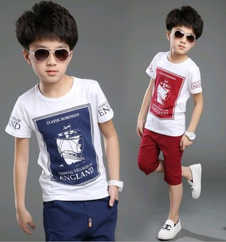 W10302G 2015 wholesale 100% cotton boys clothing sets