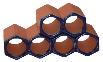 Spanish, terracotta, stackable single glazed ceramic blue wine holders and bottle racks, made of clay