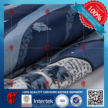twill 100% polyester 5 design template screen printed textile fabric