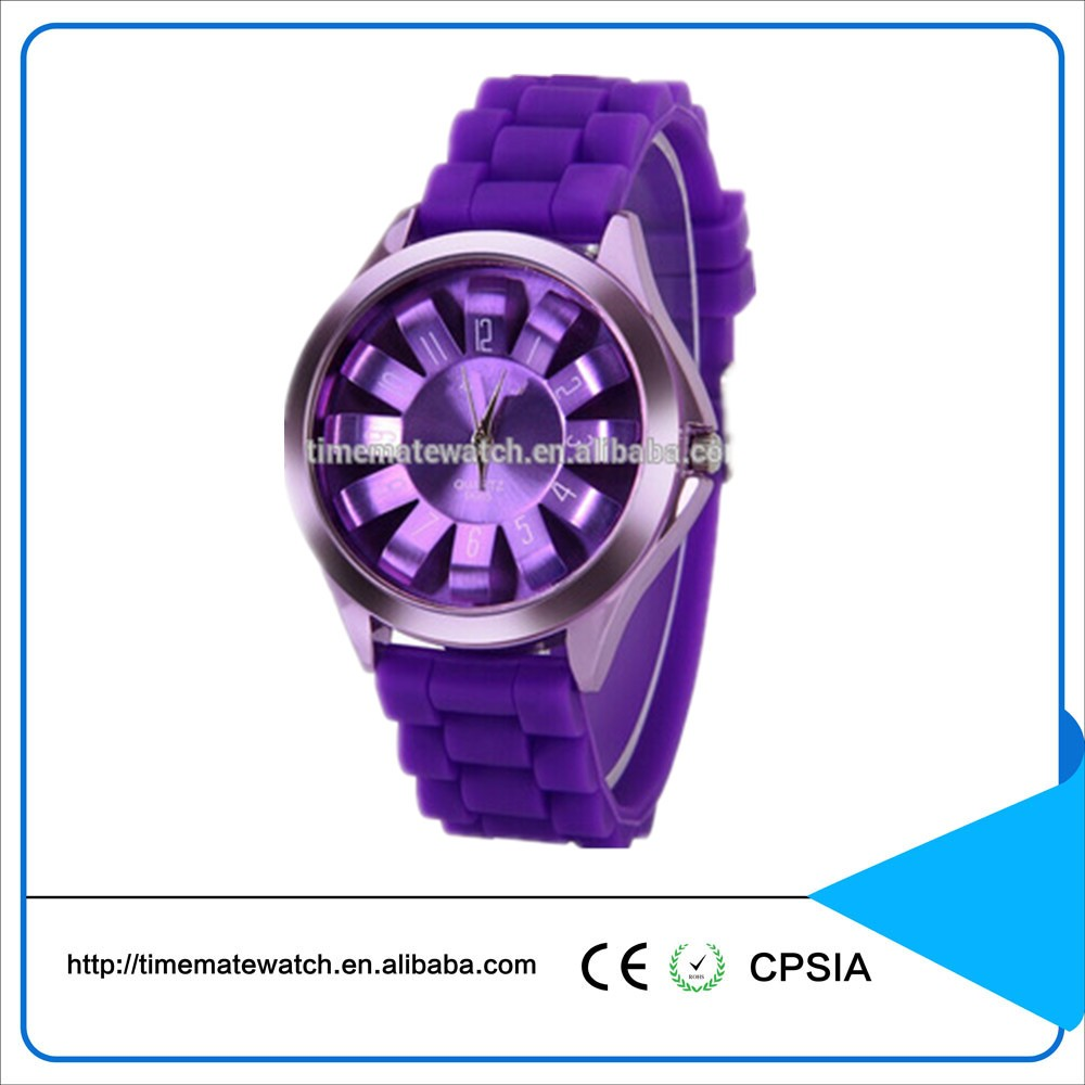 Vogue silicone japan movement quartz ladies wristwatch round face and silicone rubber band watches