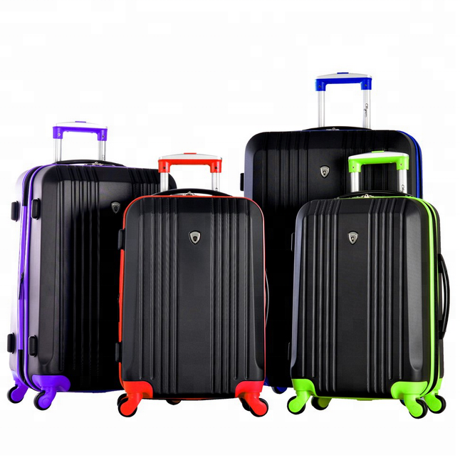 High quality <strong>ABS</strong> PC luggage set 3 pieces trolley bag with 4 wheel spinner for Business Travel