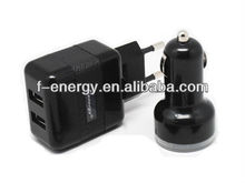 Dual USB AC charger kit for mobile phone