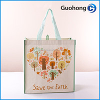 Durable laminated pp woven shopping bag with hoop