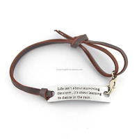 Free samples simple Inspirational Hand Made Stamped brown Leather Bracelet