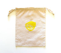 Small yellow lemon printing cotton project knitter bag with drawstring